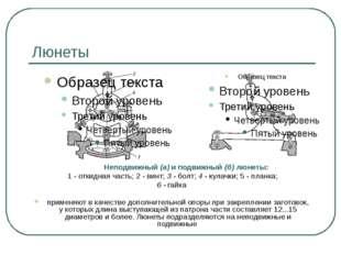 Люнеты Неподвижный (а) и подвижный (б) люнеты: 1 - откидная часть; 2 - винт;