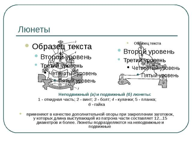 Люнеты Неподвижный (а) и подвижный (б) люнеты: 1 - откидная часть; 2 - винт;...