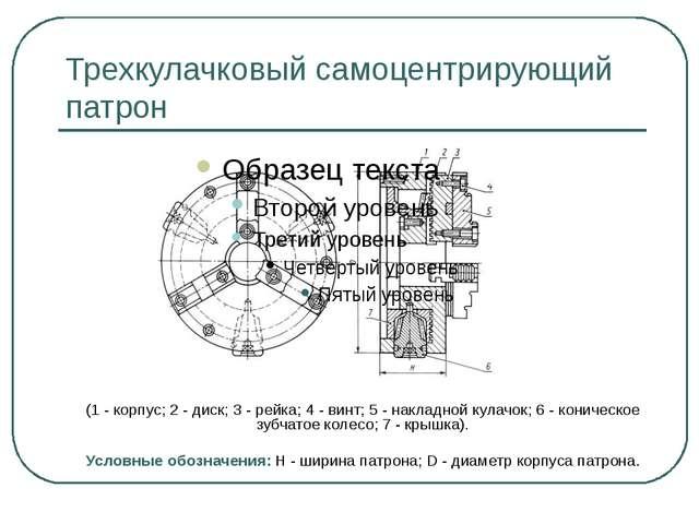Трехкулачковый самоцентрирующий патрон (1 - корпус; 2 - диск; 3 - рейка; 4 -...