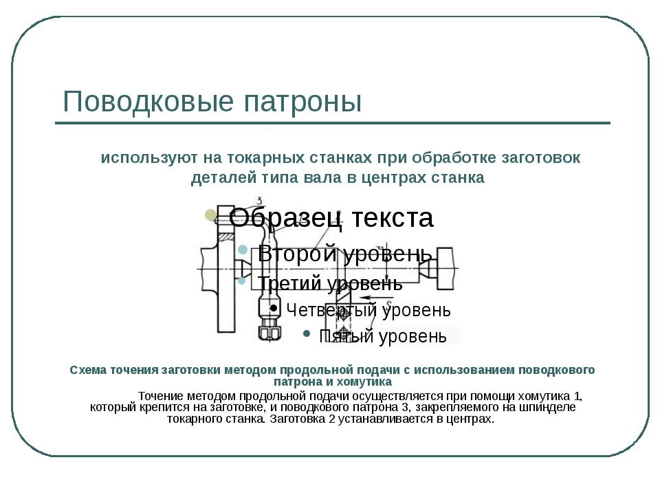 Поводковые патроны Схема точения заготовки методом продольной подачи с исполь...