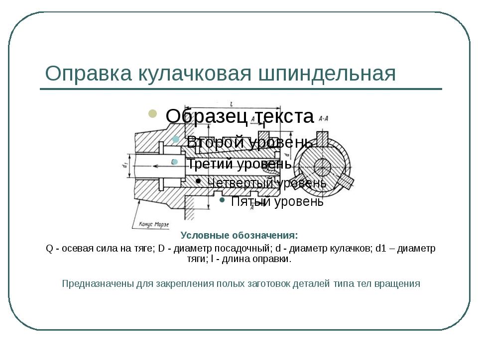 Оправка кулачковая шпиндельная Условные обозначения: Q - осевая сила на тяге;...