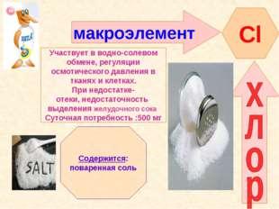макроэлемент Сl Участвует в водно-солевом обмене, регуляции осмотического дав