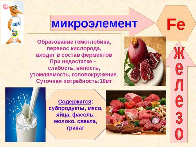 микроэлемент Fe Образование гемоглобина, перенос кислорода, входит в состав ф...