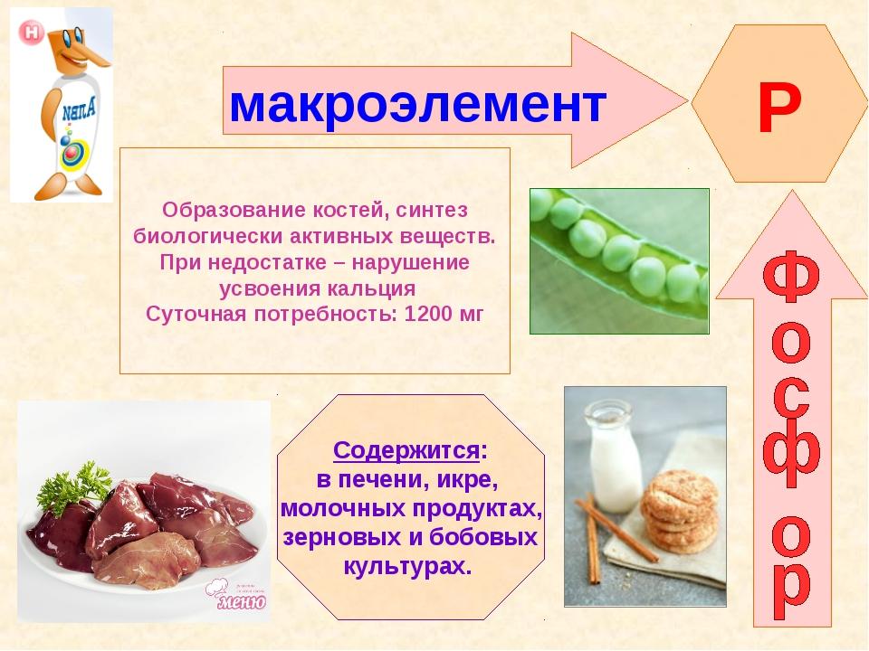 макроэлемент Р Образование костей, синтез биологически активных веществ. При...