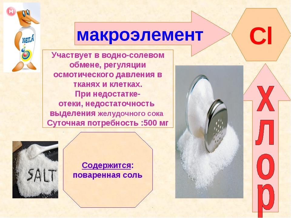 макроэлемент Сl Участвует в водно-солевом обмене, регуляции осмотического дав...
