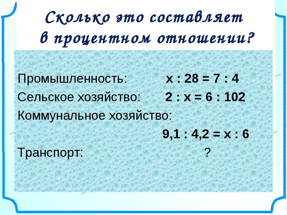 Сколько это составляет в процентном отношении? Промышленность: х : 28 = 7 :...
