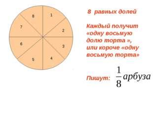 8 равных долей 3 4 5 6 7 8 1 2 Каждый получит «одну восьмую долю торта », или