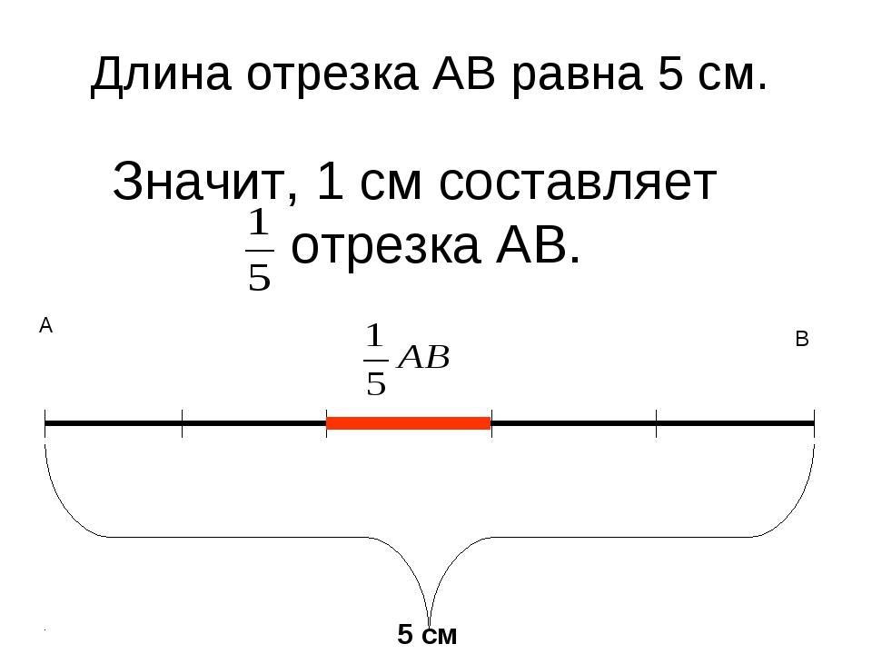 Значит, 1 см составляет отрезка АВ. 5 см А В Длина отрезка АВ равна 5 см.