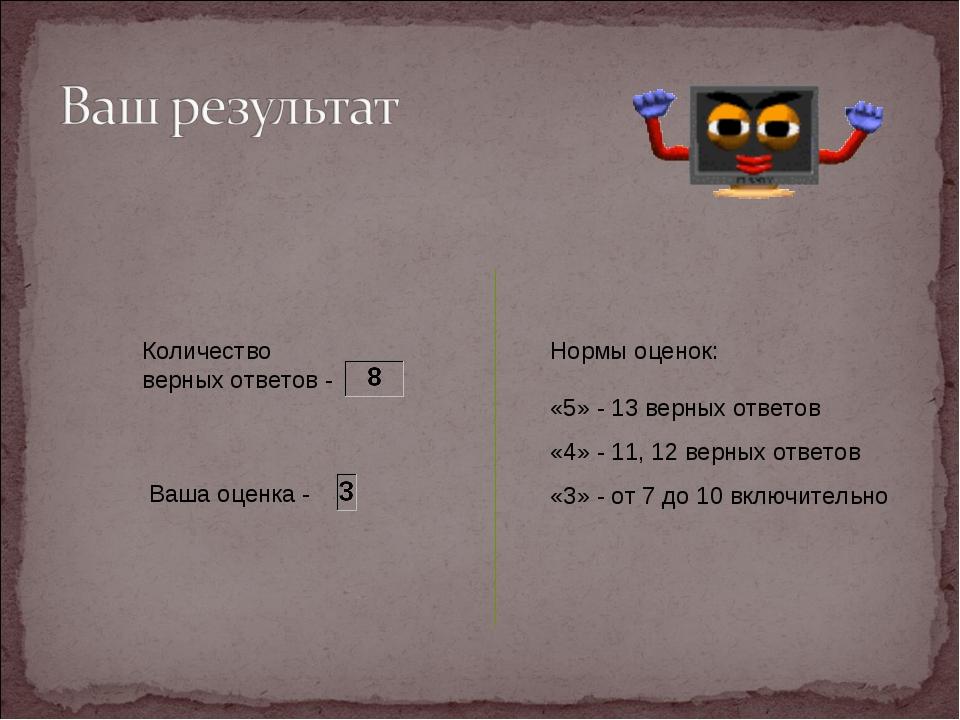 Ваша оценка - Нормы оценок: «5» - 13 верных ответов «4» - 11, 12 верных отве...