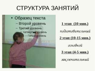 СТРУКТУРА ЗАНЯТИЙ 1 этап (10 мин.) подготовительный 2 этап (10-15 мин.) основ