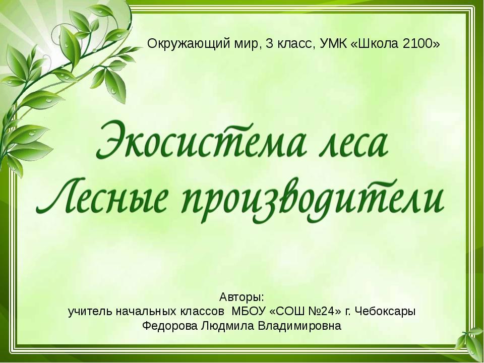 Авторы: учитель начальных классов МБОУ «СОШ №24» г. Чебоксары Федорова Людмил...
