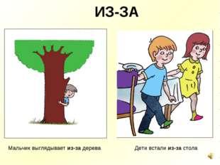 ИЗ-ЗА Мальчик выглядывает из-за дерева Дети встали из-за стола