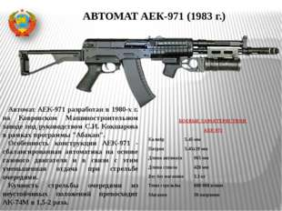 БОЕВЫЕ ХАРАКТЕРИСТИКИ АЕК-971 Калибр5.45 мм Патрон5.45х39 мм Длина авто