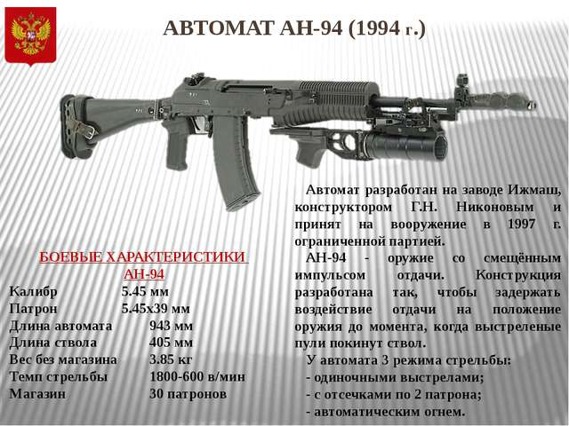 АВТОМАТ АН-94 (1994 г.) Автомат разработан на заводе Ижмаш, конструктором Г.Н...