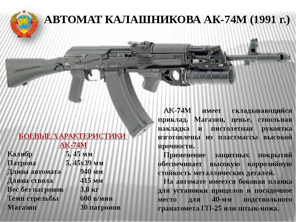АВТОМАТ КАЛАШНИКОВА АК-74М (1991 г.) АК-74М имеет складывающийся приклад. Маг...