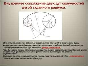 Внутреннее сопряжение двух дуг окружностей дугой заданного радиуса. Из центро