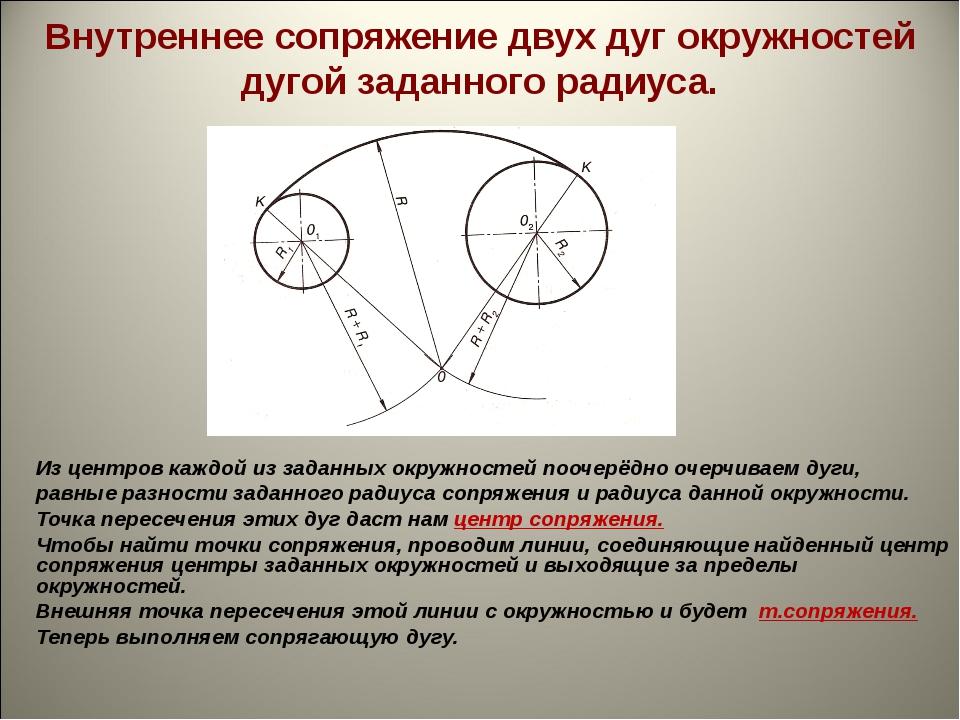 Внутреннее сопряжение двух дуг окружностей дугой заданного радиуса. Из центро...
