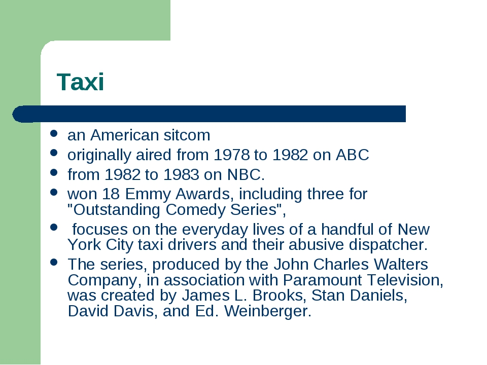 Taxi an American sitcom originally aired from 1978 to 1982 on ABC from 1982...