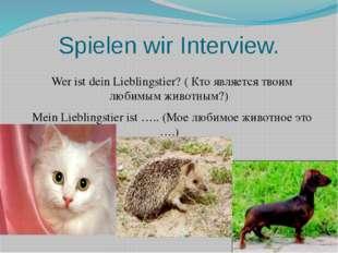 Spielen wir Interview. Wer ist dein Lieblingstier? ( Кто является твоим любим