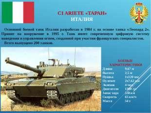 БОЕВЫЕ ХАРАКТЕРИСТИКИ Длина9,67 м Высота2,5 м Пушка1х120 мм Пулемет2x