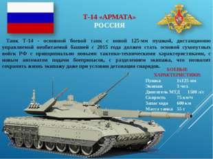 Т-14 «АРМАТА» РОССИЯ Танк Т-14 - основной боевой танк с новой 125-мм пушкой,