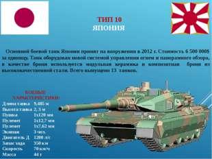 БОЕВЫЕ ХАРАКТЕРИСТИКИ: Длина танка9,485 м Высота танка2, 3 м Пушка1х120 м
