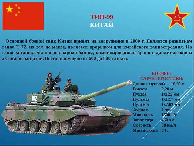 ТИП-99 КИТАЙ Основной боевой танк Китая принят на вооружение в 2000 г. Являет...
