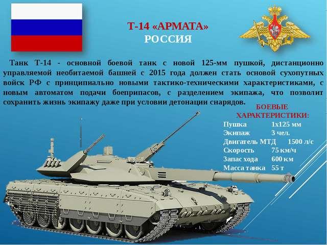 Т-14 «АРМАТА» РОССИЯ Танк Т-14 - основной боевой танк с новой 125-мм пушкой,...