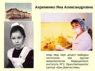Ахременко Яна Александровна канд. мед. наук, доцент кафедры гистологии, зав.