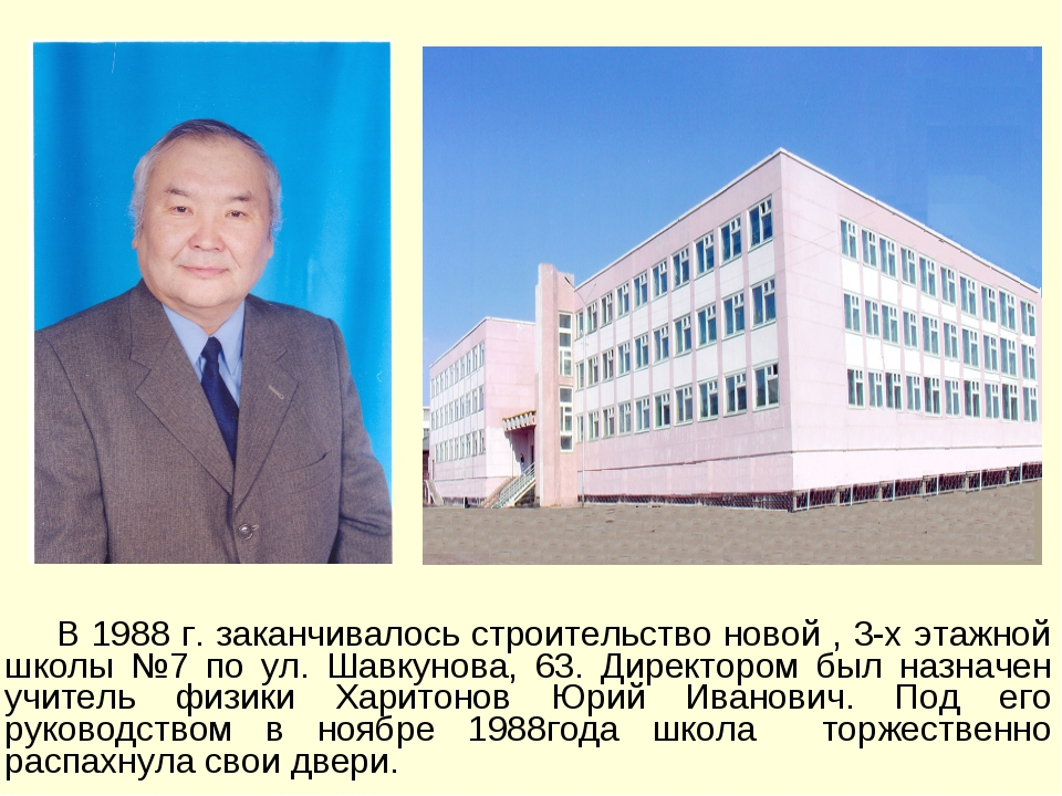 В 1988 г. заканчивалось строительство новой , 3-х этажной школы №7 по ул. Ша...