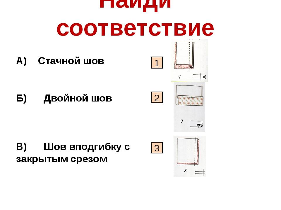 Найди соответствие А) Стачной шов Б) Двойной шов В) Шов вподгибку с закрытым...