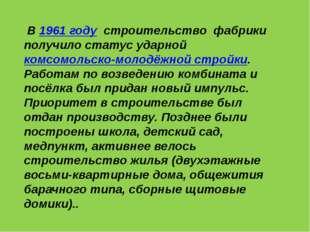 В 1961 году строительство фабрики получило статус ударной комсомольско-молод