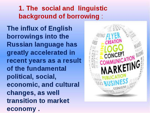 The influx of English borrowings into the Russian language has greatly accel...