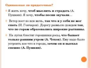Одинаковые ли придаточные? Я жить хочу, чтоб мыслить и страдать (А. Пушкин).
