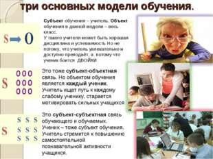 три основных модели обучения. Субъект обучения – учитель. Объект обучения в д