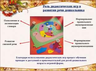 Роль дидактических игр в развитии речи дошкольника Пополнение и активизация с