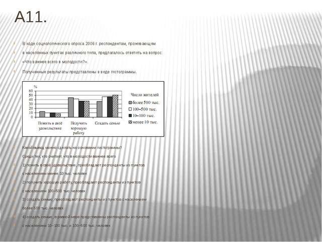 А11. В ходе социологического опроса 2006 г. респондентам, проживающим в насел...