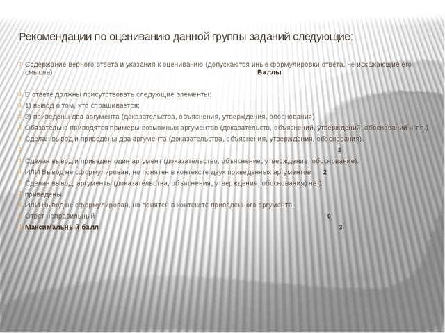 Рекомендации по оцениванию данной группы заданий следующие: Содержание верног...