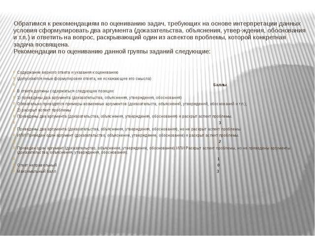 Обратимся к рекомендациям по оцениванию задач, требующих на основе интерпрет...