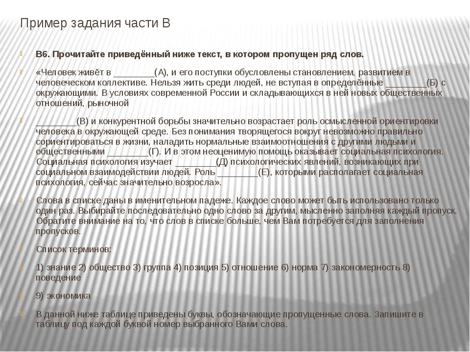 Пример задания части В В6. Прочитайте приведённый ниже текст, в котором пропу...