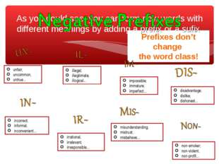 Prefixes don't change the word class! As you could see, you can form new word