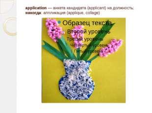application — анкета кандидата (applicant) на должность; никогда: аппликация