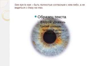 See eye to eye – быть полностью согласным с кем-либо, а не видеться с глазу н