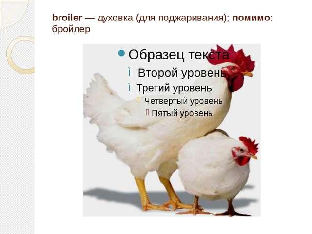 broiler — духовка (для поджаривания); помимо: бройлер