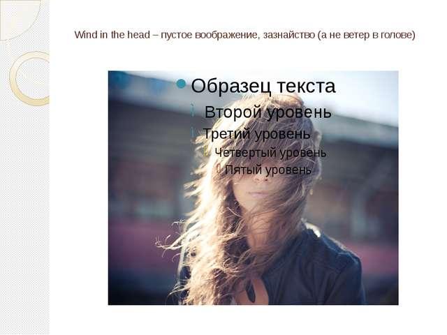 Wind in the head – пустое воображение, зазнайство (а не ветер в голове)