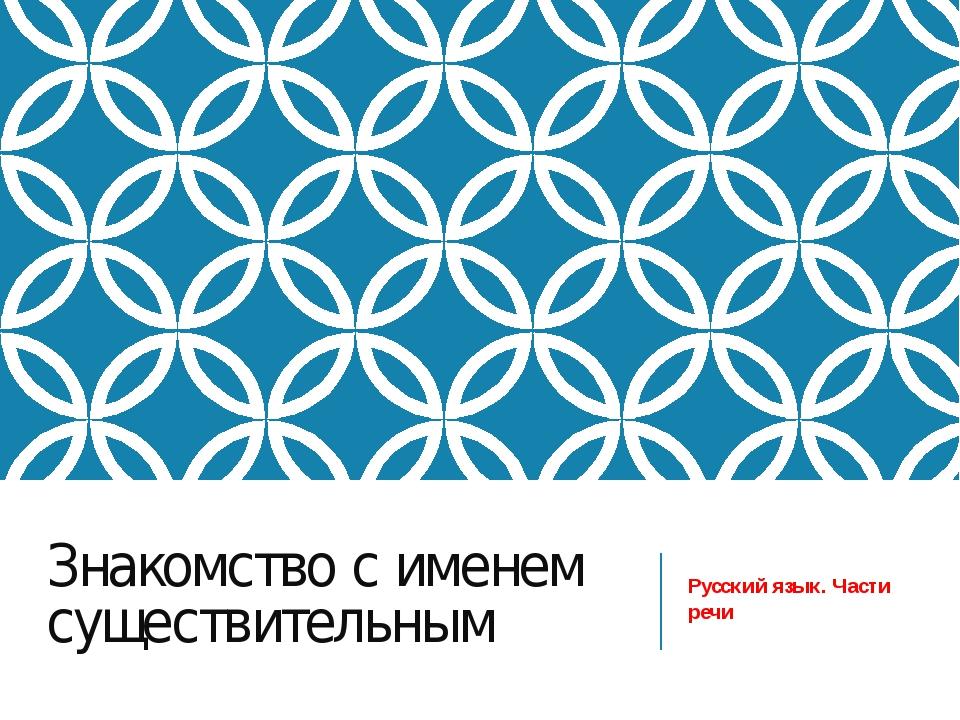 Знакомство с именем существительным Русский язык. Части речи