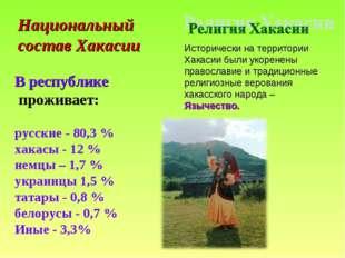В республике проживает: русские - 80,3 % хакасы - 12 % немцы – 1,7 % украинц