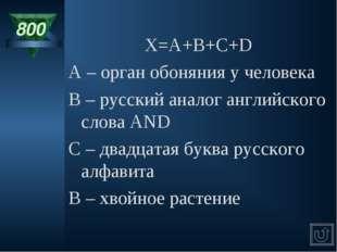 800 X=A+B+C+D A – орган обоняния у человека B – русский аналог английского сл