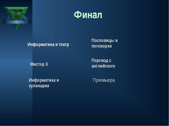 Финал Информатика и театр Мистер Х Информатика и кулинария Пословицы и погово...
