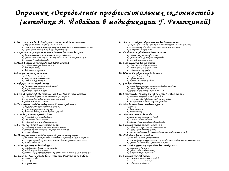 Опросник «Определение профессиональных склонностей» (методика Л. Йовайши в мо...